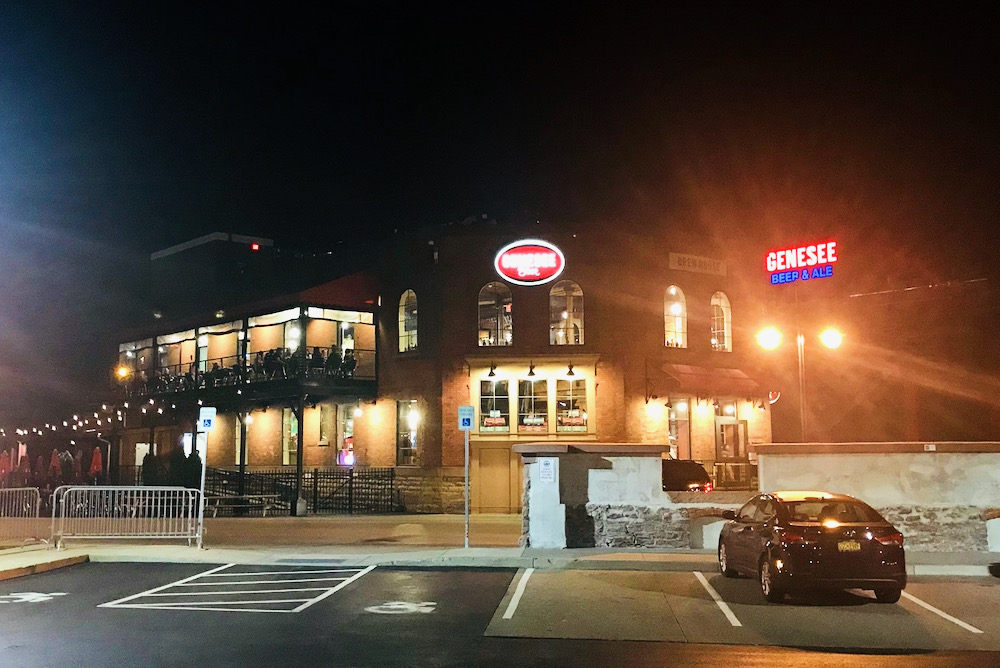 Genesee Brew House at night